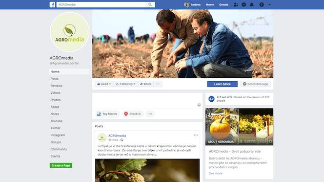 Agromedia Facebook stranica