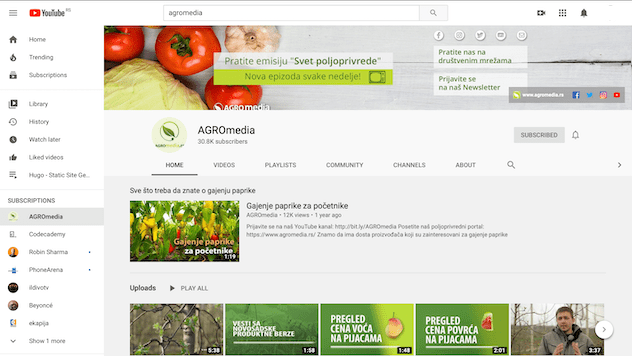 Agromedia Youtube kanal