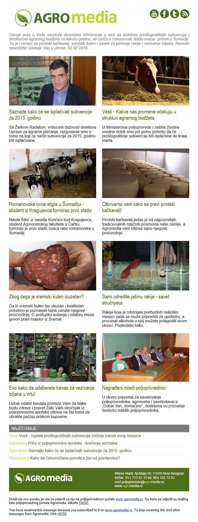 Newsletter poljoprivrednog portala Agromedia